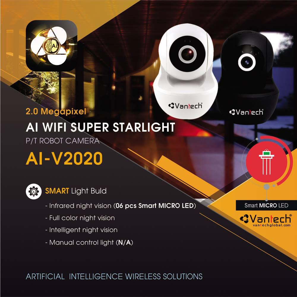 Camera Wifi Robot Pan/Tilt Super Starlight 2.0MP AI-V2020