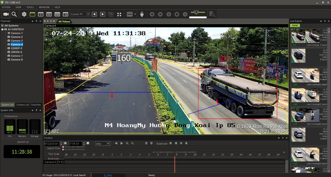 Giao diện của Phần mềm phân tích video nâng cao