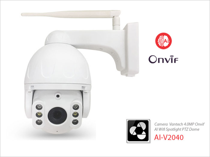 Vantech Camera 2.0MP Onvif Wifi Spotlight P/T Dome AI-V2040