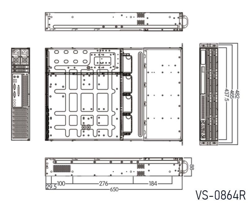 VS-0864R. Dimension: 650mm(D) x 437.5mm(W) x 88mm(H)